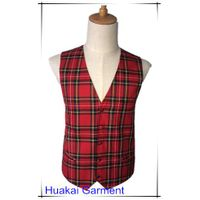 Cotton Polyester Mixed Plaid Waistcoat