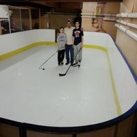 synthetic ice rink and barriers