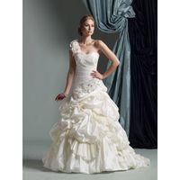 A-line One Shoulder Floor-length Wedding Dress