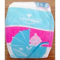 Unihope baby diaper,made of cloth like film with magic tape, elastic waistband