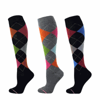 Women Argyle Compression Knee High Socks