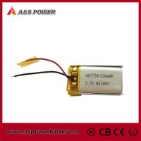 461730 3.7v 200mah lithium polymer battery for bluetooth headphone