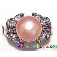 beautiful butterfly ring ~ pink pearl