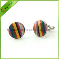 colorful brass offset printing strip cufflinks thumbnail image