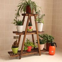 Durable triangle wooden flower shelf 3 tier green plant stand display shelf FS015 thumbnail image