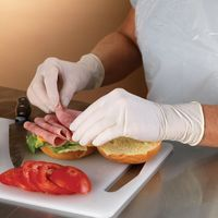 White powder free food safe disposable nitrile gloves for cooking thumbnail image