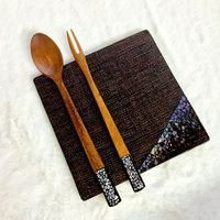 [Made in Korea]  Natural lacquer mother-of-pearl handmade tea and baby food spoon/fork