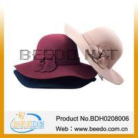 Wide brim ladies wool felt floppy hat