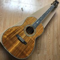 "Custom 39"" Solid Koa Wood All Abalone Inlays Binding Ebony Fingerboard Acoustic Guitar"