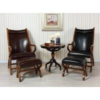 NEW ITEM---American Simple Wooden Leather Leisure Chair, Stool & Ottoman