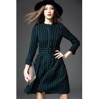 2015 europea hot sale stripe round neck long sleeve dress for ladies thumbnail image