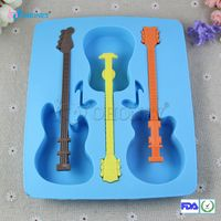 Rubber and plastic raw materials custom silicone guitar shapes ice cube tray