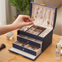 3-layer Large Leather Jewelry Box Necklace Earring Ring Casket Makeup Storage Organizer Box thumbnail image
