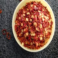 Dried red chilli pepper crushed with seeds