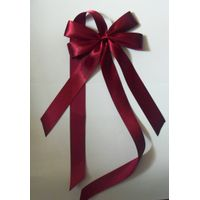 burgundy satin big bow with a satin ribbon