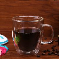 Creative double layer tea ware/ glass coffee cup/ European glass coffee mug cup