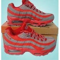 Grey/Red Women Nike Air Max 95 Red Logo Sport Shoes