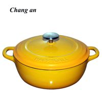 enameled cast iron dutch oven casserole with dual loop handle 22cm