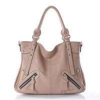 Rivet style Leisure Genuine leather Shoulder bag (Apricot)
