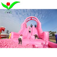 Giant Pink color inflatable slide with ocean ball pool for sale