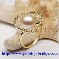 South Sea Golden Pearl Rings Yellow Gold Diamonds Handmade Jewelry  Adjustable Size thumbnail image