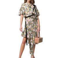Ruffle Sleeve Asymmetrical Hem Flounce Floral Printed Midi Shirt Dress with Button thumbnail image