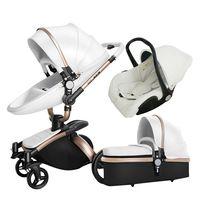 3 IN 1 Luxury Baby Stroller High View Pram Foldable Pushchair Bassinet Car Seat