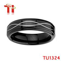 Ti 8MM Black Tungsten Carbide Wedding Bands for mens