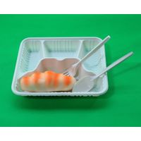 Restaurant Use Biodegradable Disposable Plastic Tray in Rectangular Shape
