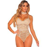 Nude Floral Lace Bustier Bodysuit
