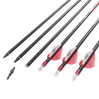 Pure Carbon 3k Weave Arrow Plastic Real Turkey Feather Replaceable Point Arrows thumbnail image