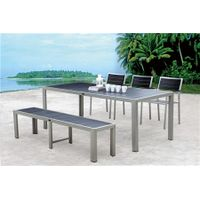 Aluminium brushed polywood dining table chair bench