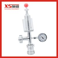 Sanitary Straight Cross Air Release Valve with Pressure Gauge thumbnail image