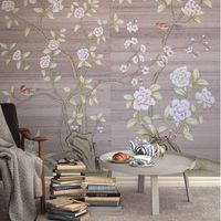 Chinese Design Painting Style Hand Painted Silk Wallpaper Chinoiserie Wallcoverings