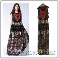 Women Fashion Summer Sleeveless Chiffon Silk Flower Elegant Long Evening Dress thumbnail image