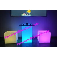 Acrylic LED cube table and chair