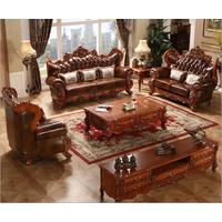 European leather solid wood sofa thumbnail image