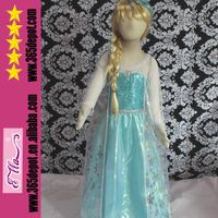Long Sleeve Elsa Dress In Frozen Child Movie Cosplay Costume