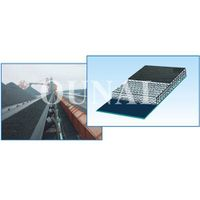 Flame-retardant conveyor belt with solid textile carcass