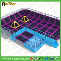 Cheap Trampoline for Kids Public Park Used Rectangular Outdoor Trampoline Park with Enclosure