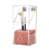 Covered Makeup Brush Holder with Dustproof Lid, Pearls Beads Large Capacity Acrylic thumbnail image