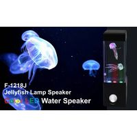 Mini Aquarium Colorful LED dancing water speaker with jellyfish swiming in the tank F-1218 J