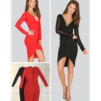 2016 new arrivals autumn long sleeve bodycon bandage V neck fashion woman evening dress