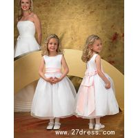 Lovely Ball Gown Tea-length Bateau Bowknot Flower Girl Dresses on sale
