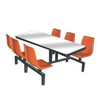 Glass fiber student dining table and chair for 6 persons