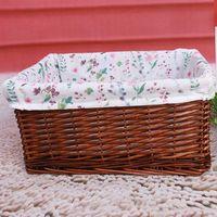 Handmade wicker storage basket with lining