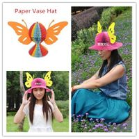Butterfly Paper Hat, Fun Hat for Children and Women in Party, Christmas, Halloween, Birthday, Touris