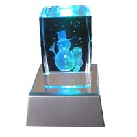 3d laser etched Christmas crystal craft