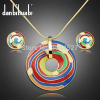 Retro fashion women 18 k gold and colorful painted round mini necklace and earrings set