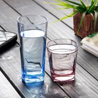 Coloured square bottom soft drink glass
